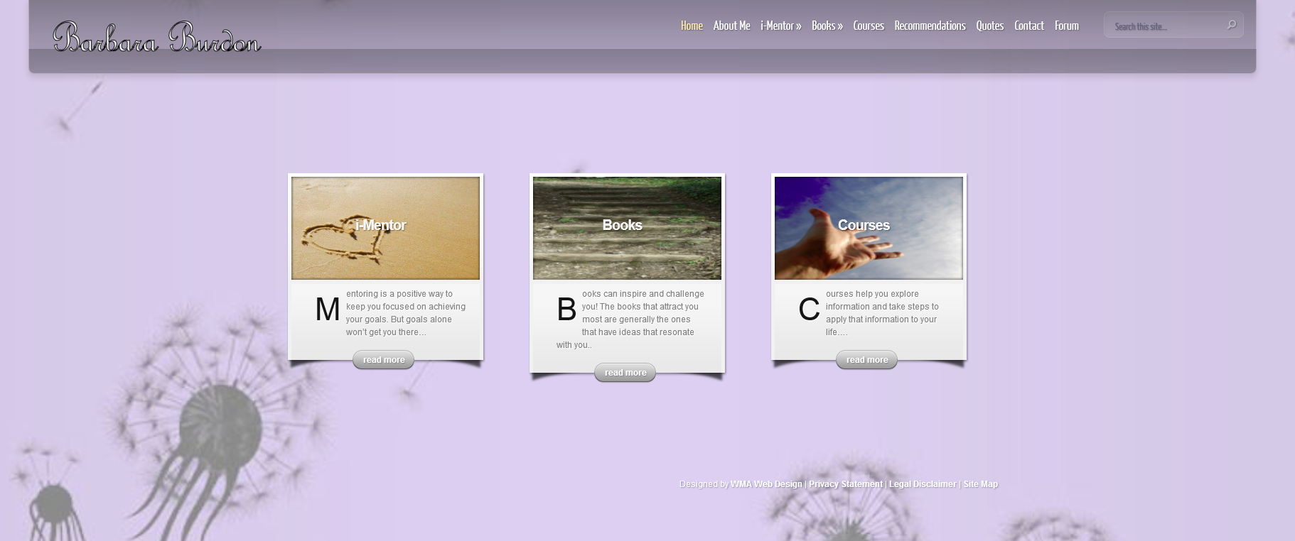 Barbara Burdon Intuitive mentoring website design