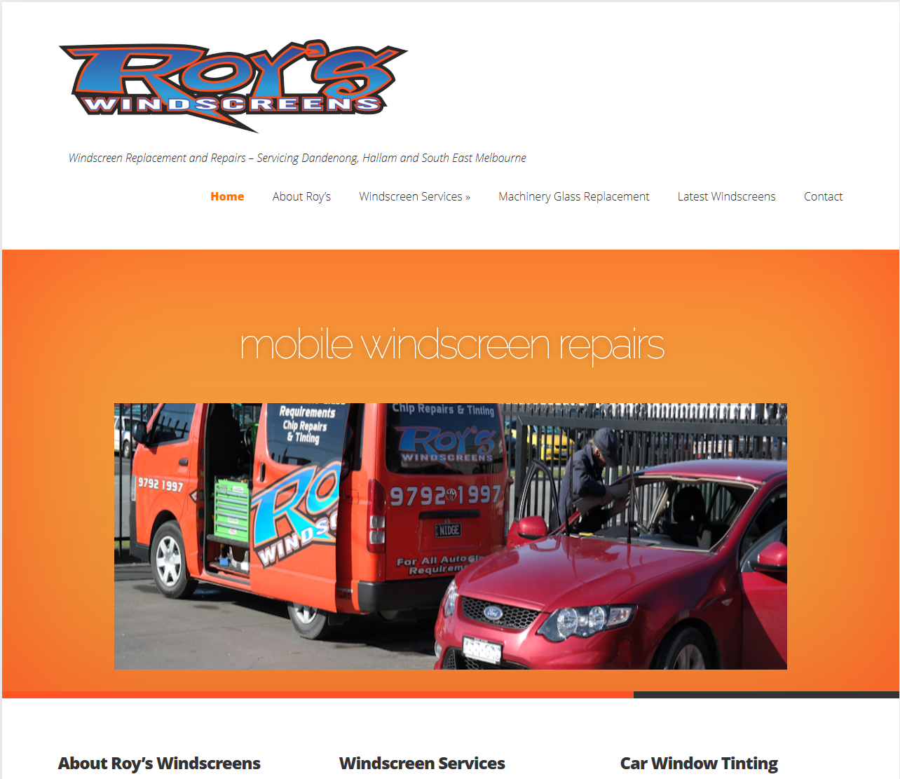 Roys Windscreens – Windscreen Repairer Website Design