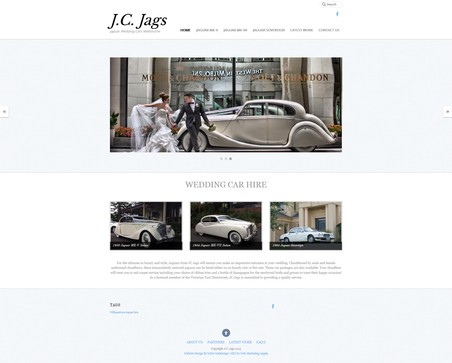 Wedding Cars – Melbourne Website Design – JC Jags
