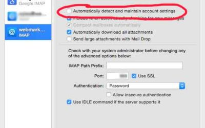 Apple Mail Application – Disable Automatic Detection and Maintenance of Account Settings