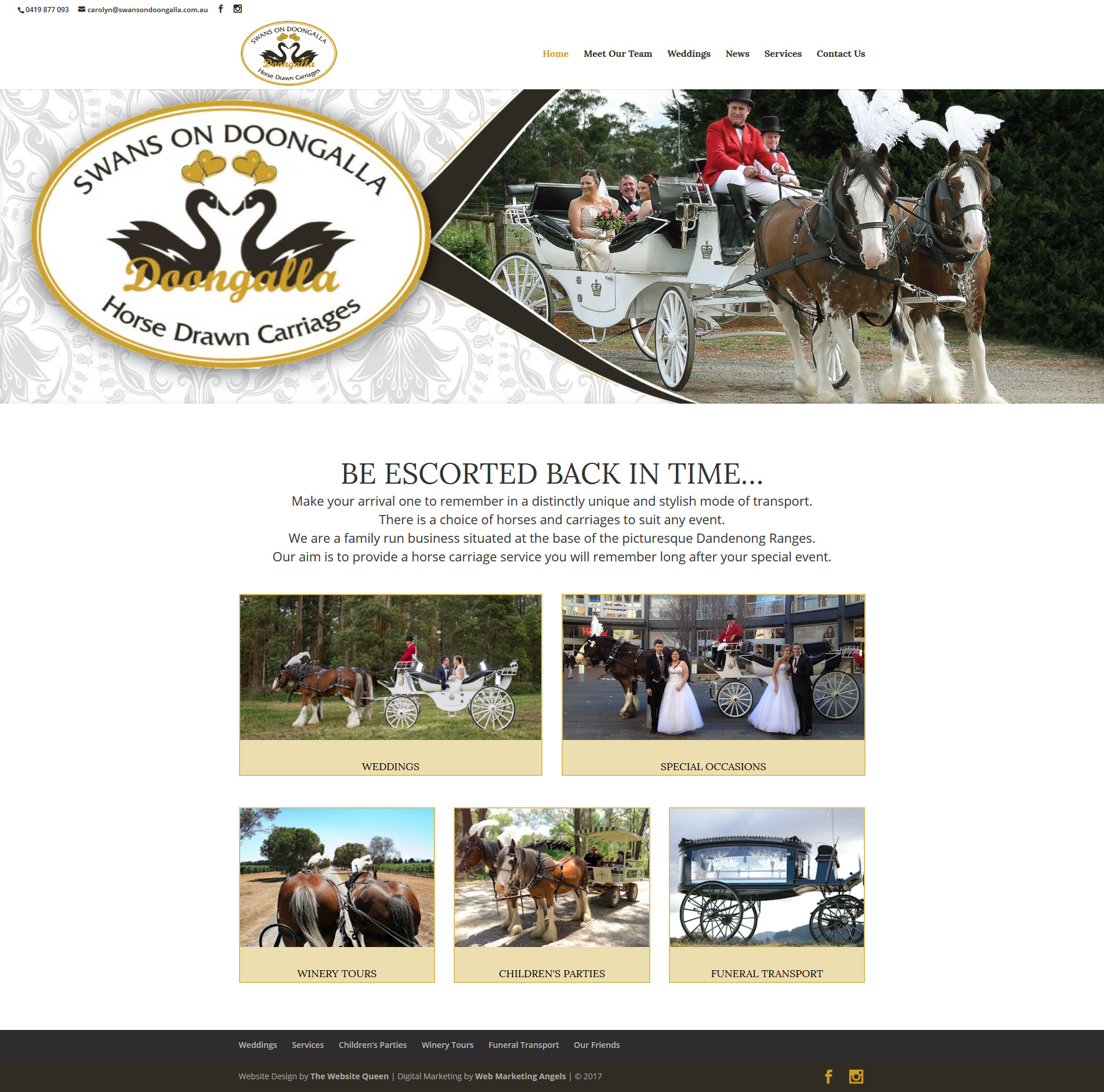 Melbourne horse-drawn carriage website