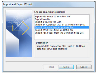 Email Backup - Outlook - Import Step 2