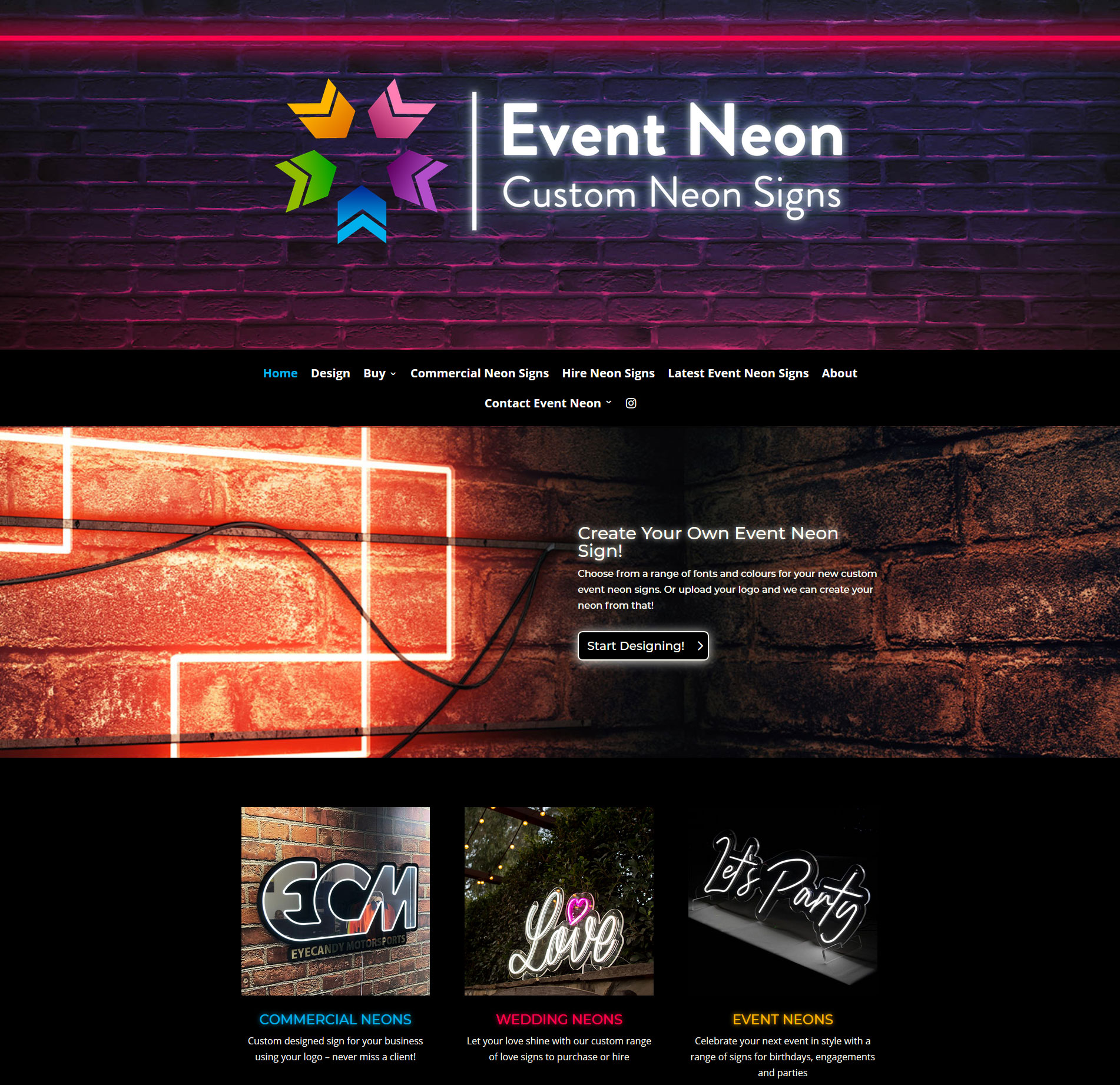 Web Marketing Angels - Latest Websites - Event Neon Signs